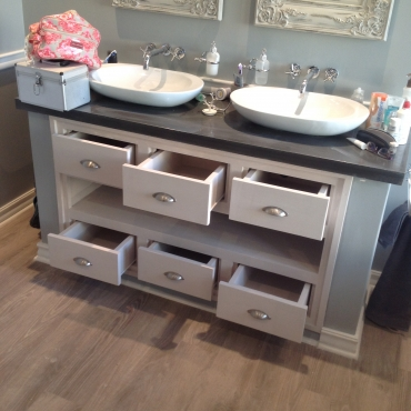 Vanity drawers and open shelving unit Farmhouse series Glazed