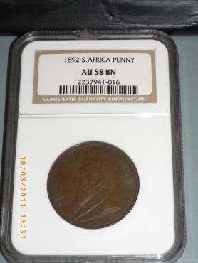 FOR SALE - 1892 S.A. Kruger Penny