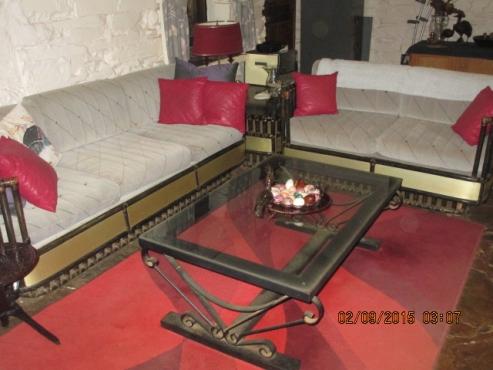 Red carpet with burgundy swirls