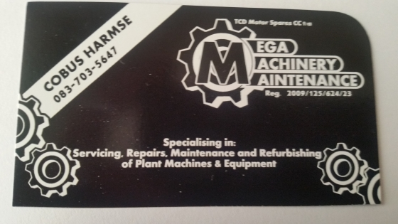 Small plant machinery services, maintenance & refurbishment & vehicle mechanic