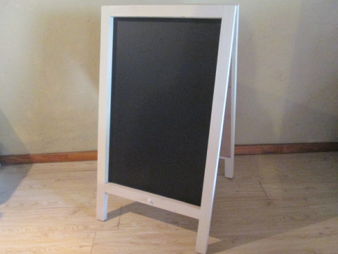 Chalkboards - Blackboards: A-frame, double sided. Wooden frame.