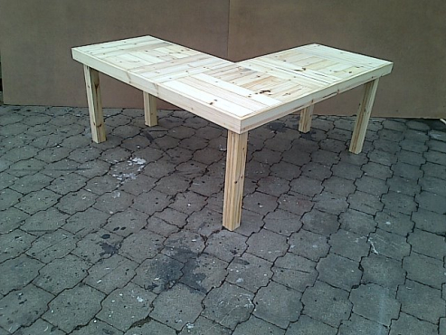 Study desk Farmhouse series 1700 L Shape Raw