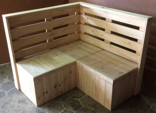 Breakfast booth Farmhouse series 1300 L shape with Back rest Raw
