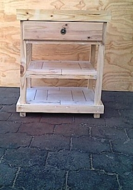 Kitchen Island Farmhouse series 690 with drawer and 2 shelves Raw