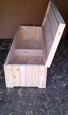 Patio bench with storage Farmhouse series 2000 Extra width Raw