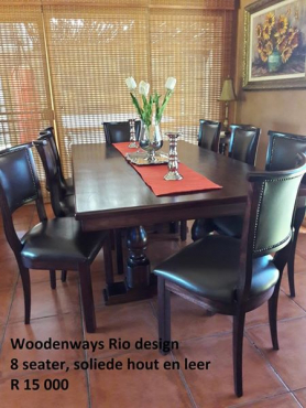 Woodenways Solid Wood And Leather Dining Room Set (8 Seater).