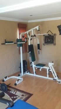 Full trojan omega home gym free weights dumbbells bench press