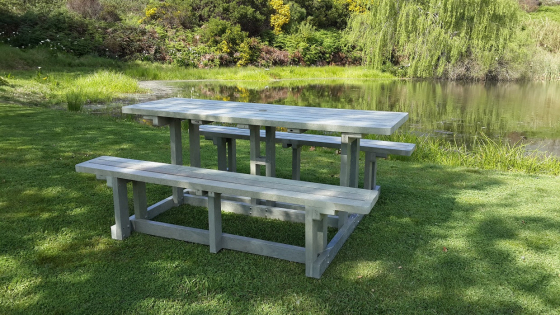 Picnic bench sets, park benches and all outdoor furniture made from recycled plastic.