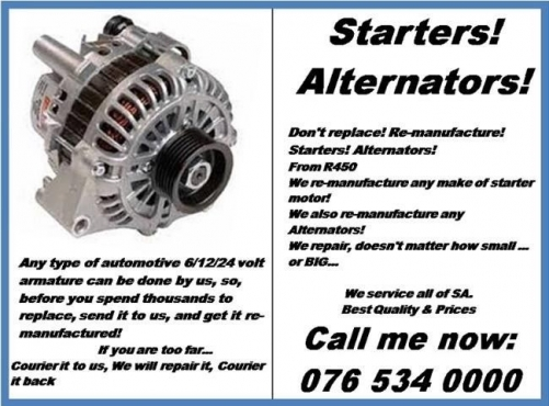 Starters repaired 0765340000