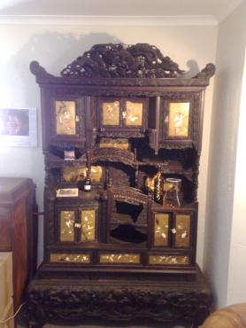 Hand carved Japanese Shodana Display Cabinet