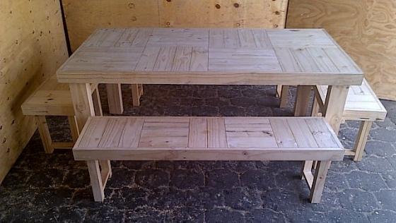 Patio table Farmhouse series 1915 Eight seater Combo 1 Raw