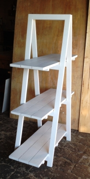 Trestle shelving Single A Frame 3 tier 1670 White washed