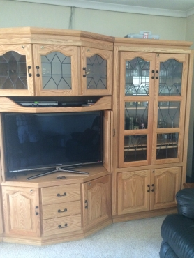 3 Piece oak wall unit