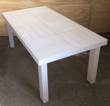 Patio table Farmhouse series 1915 Eight seater White washed