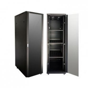 47 U network cabinet / server rack, NEW, 1000mm deep, black with glass door
