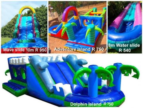Waterslides, waveslide gladiator, bubble machine, jumping
