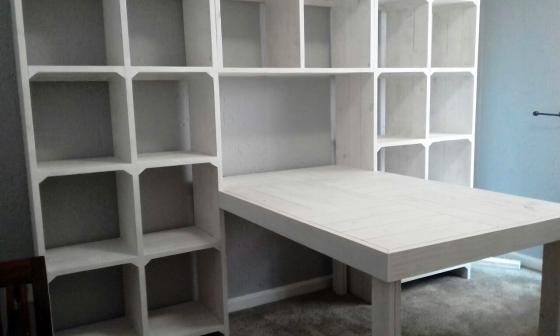 Study desk and bookshelf units Farmhouse series 2425 White washed