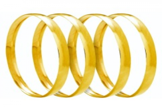 9CT SOLID GOLD 6MM C SHAPED BANGLES