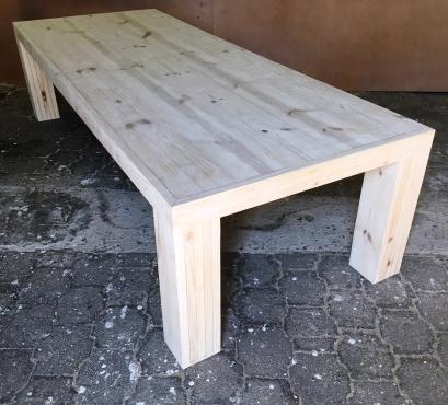 Patio table Chunky Farmhouse series 3200 with extra thick pillar legs Raw