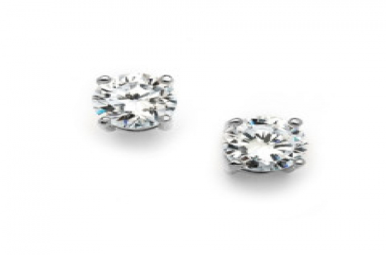STERLING SILVER .925 3MM STUD EARRING WITH CUBIC ZIRCONIA