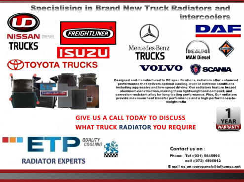 Suppliers of Brand New Truck Radiators for Nissan ud-Cabstar-Toyota hino-mitsubishi fuso-dyna