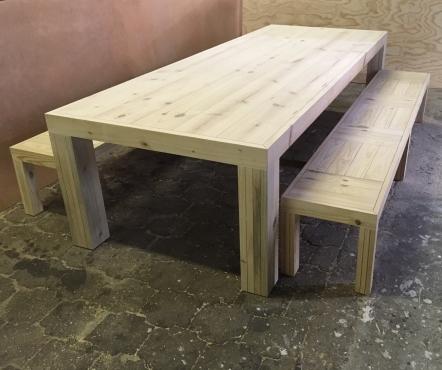 Patio table Chunky Farmhouse series 3000 with pillar legs (Combo) Raw