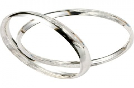 .925 SOLID STERLING SILVER 8MM C SHAPED BANGLES