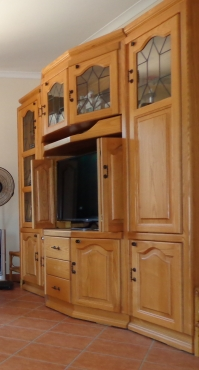 Three piece oak wall unit
