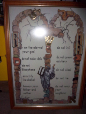 Frame with the 10 Commandments of God