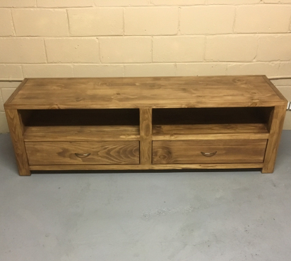 Tv display unit Chunky Farmhouse series 1800 with drawers Stained