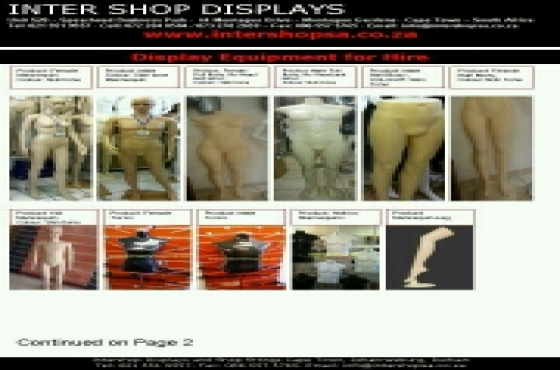 Mannequins, clothing rails, displays for Hire