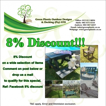 Replace old wood furniture with GREEN PLASTIC FURNITURE - Maintenance free !!!