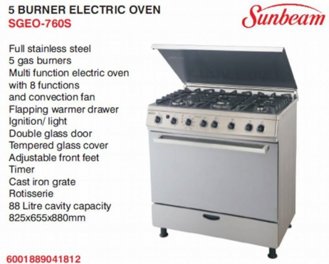 5 burner gas stove with electr oven for sale