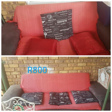 Red and black couch for sale