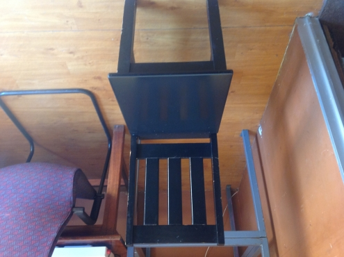 Black dining room table with THREE  chairs
