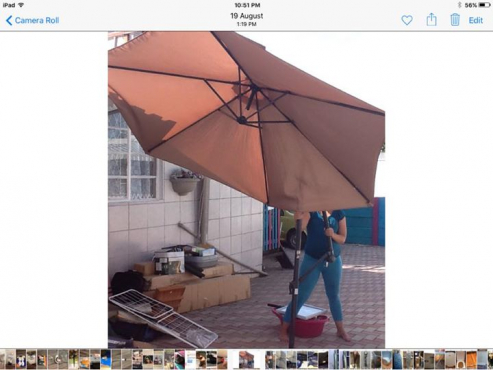Large brown garden umbrella for sale