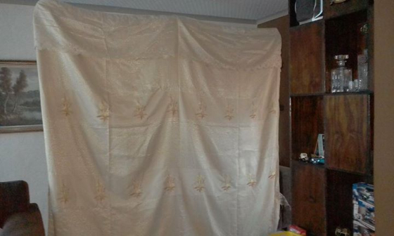 5 metre sheer gold curtain with tape and hooks, beautiful curtain