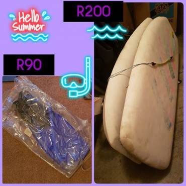 Surf boards and diving gear