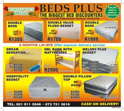 HOSPITALITY DOUBLE BEDS R3999- ( SALE NOW ON  )