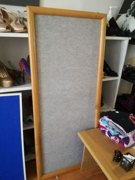 Notice board approx 1.3 m. With Oakwood edge. Grey