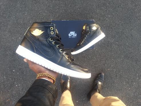 Air Jordan Black Snakeskin Sneaker