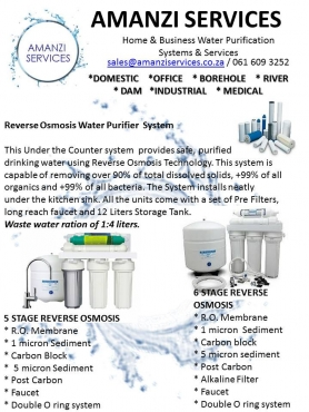 Amanzi Services - Water Purification Systems, Domestic, Industrial, Alkaline Drinking Water