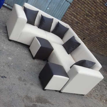 L shape sofa with ottomans and cushions
