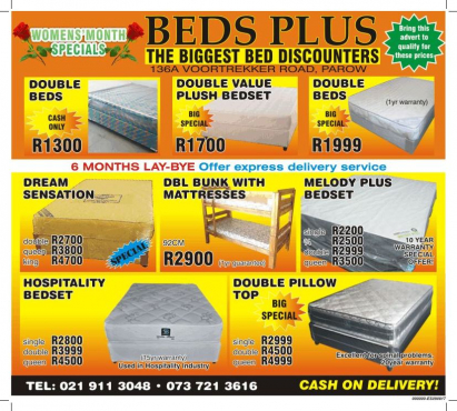 R1700 double beds for sale- ( SEE WEBSITE for more information )