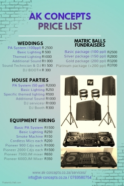 Sound, Lighting and DJ Services (weddings, Parties, Fundraisers etc)