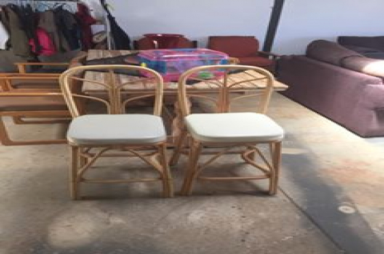 Two cane bar chairs