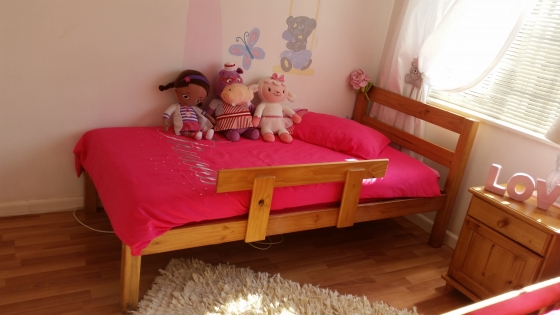 two single beds for sale plus small cupboard