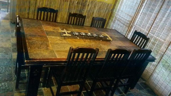 Specially made slate top 8 seater dining room table