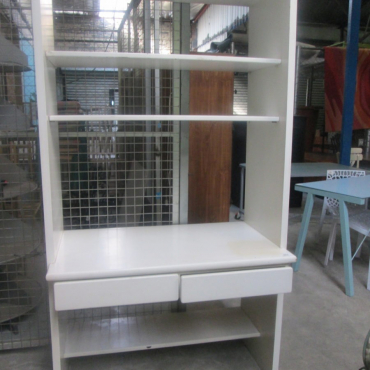 white bookcase with drawers