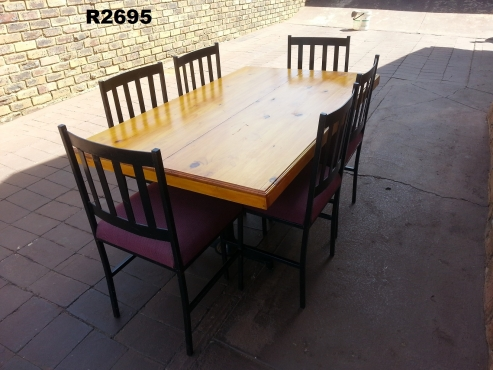 6 Seater Pine Table with 6 Steel Chairs (1495x900x760)